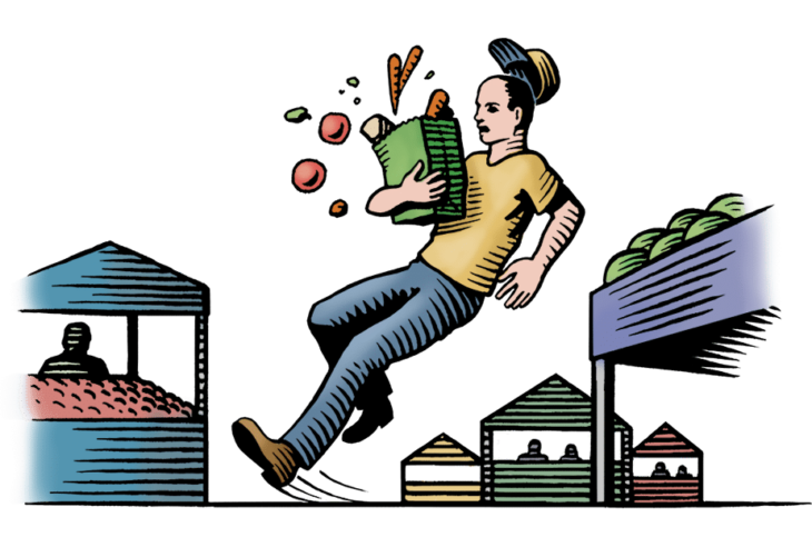 An illustration of a shopper at a market holding a bag of groceries while slipping and falling.