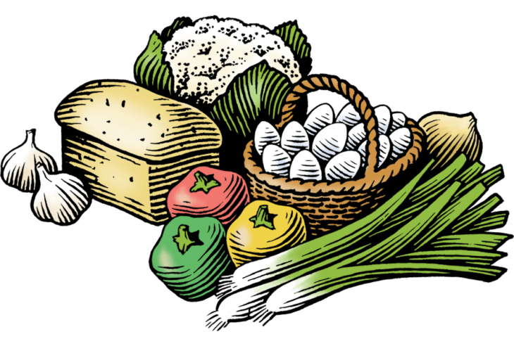 An illustration of assorted vegetables.